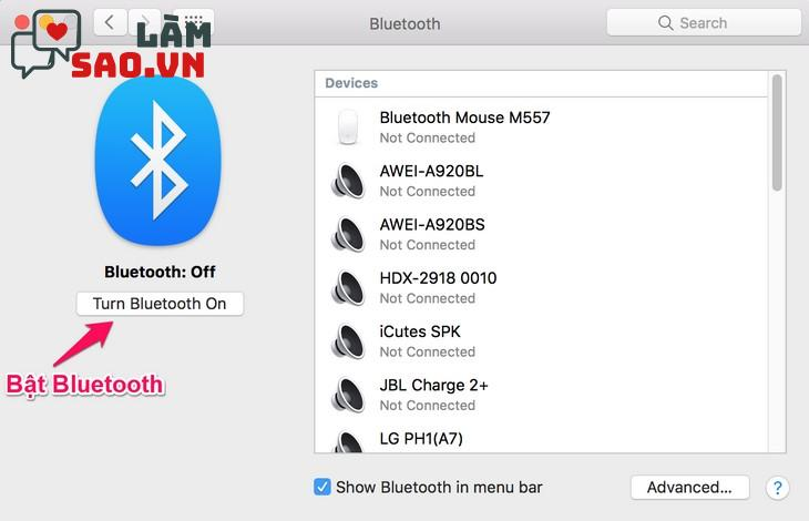 Bật Bluetooth trên hệ điều hành MacOS