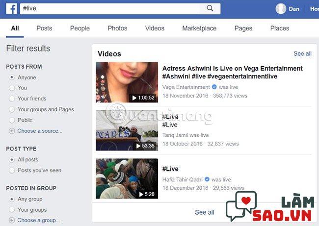Cách tìm video trên Facebook