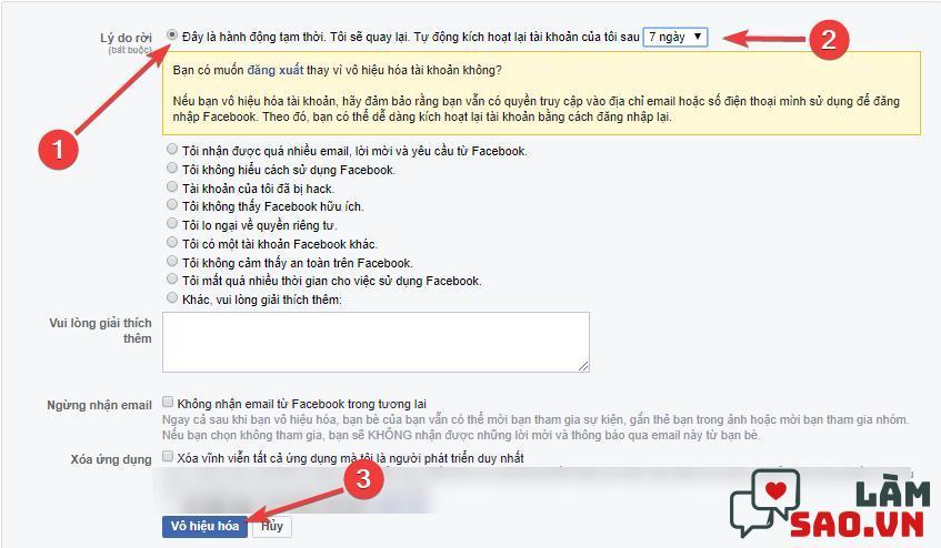Chọn vào dòng đầu tiên và chọn thời gian tạm khóa Facebook