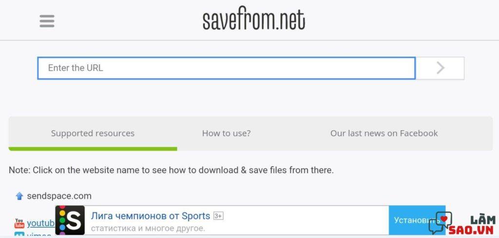 Phần mềm Savefrom