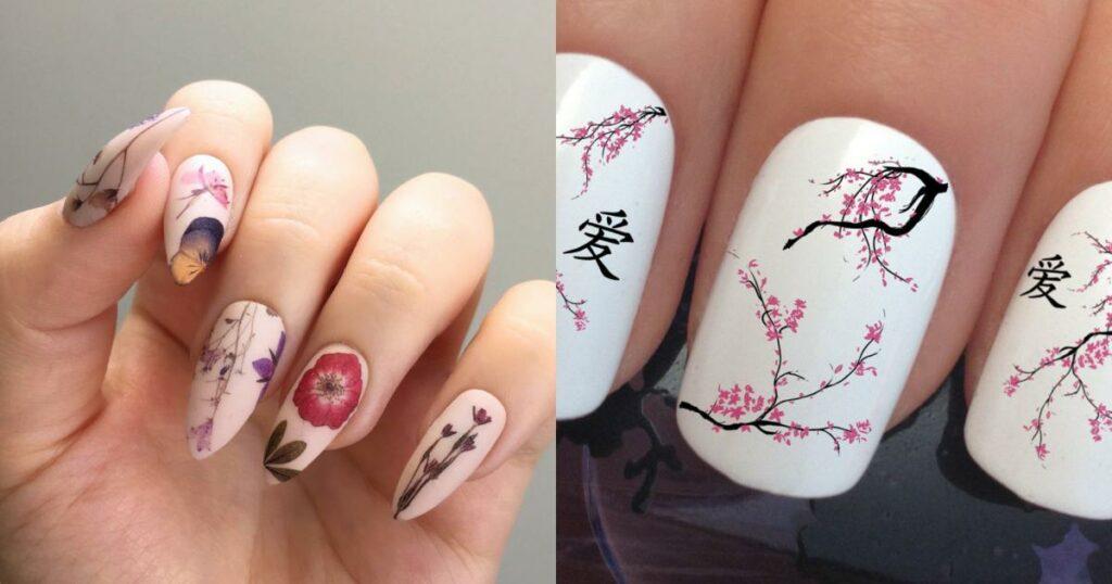 Mẫu nail Tết hoa nghệ thuật, nhẹ nhàng