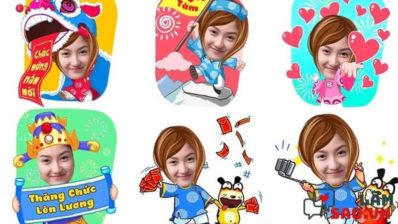 Phần mềm app ghép ảnh Tết Zamoji nổi bật thư viện stick ngày Tết